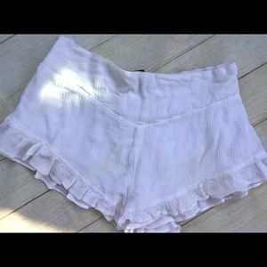 Brandy Melville white ruffled shorts lined XS